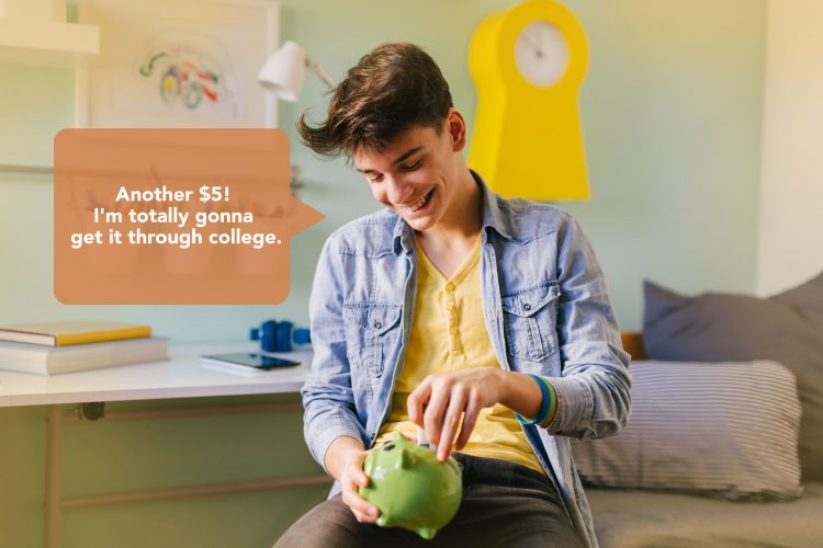 Teenager is saving money for college
